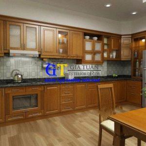 Tủ Bếp Gỗ Xoan đào Gt47