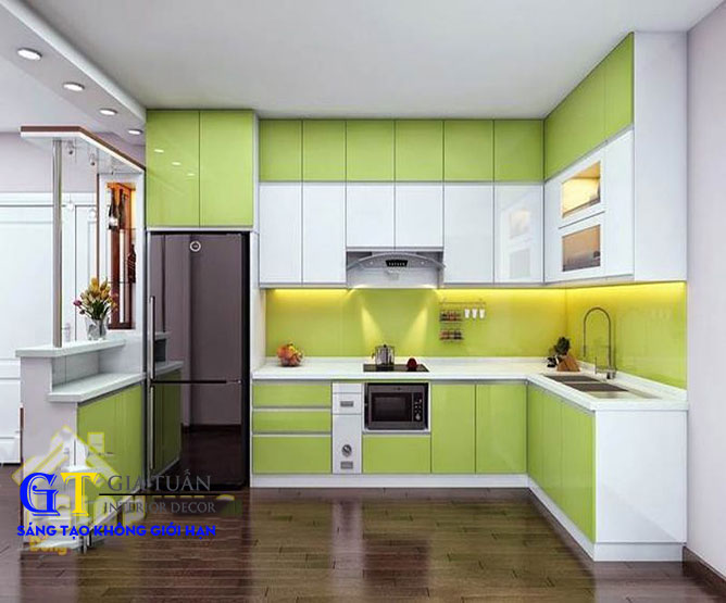 Tủ bếp mdf sơn bệt phối màu GT57