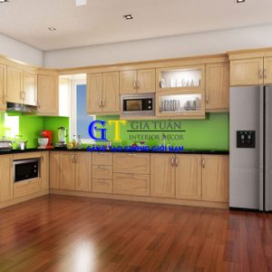 Tủ Bếp Gỗ Sồi Mỹ GT59