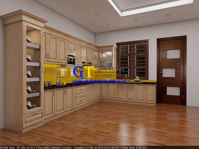 Tủ bếp gỗ sồi mỹ GT66