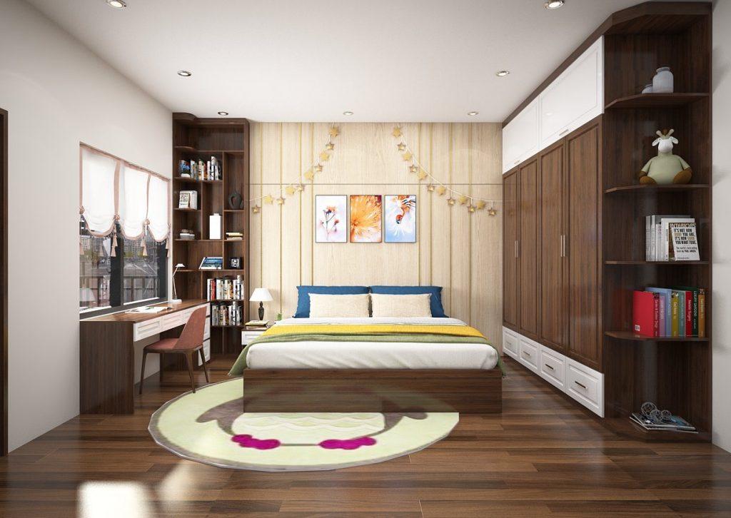 phòng ngủ gỗ óc chó sang trọng, kết hợp màu sáng hài hòa.