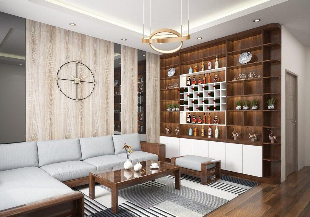 sofa gỗ bọc nỉ hàn quốc, thiết kế thanh lịch đang rất được ưa chuộng