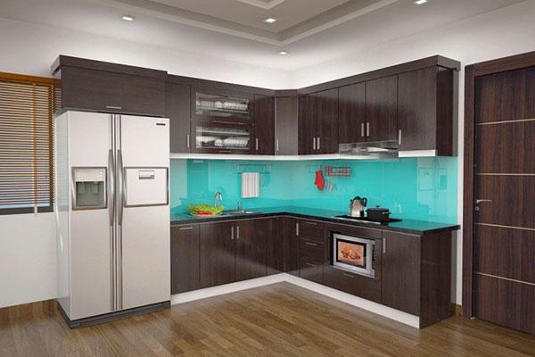 tủ bếp acrylic màu sẫm