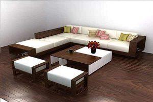 bàn ghế sofa gỗ sồi nga sơn pu màu đậm GT67