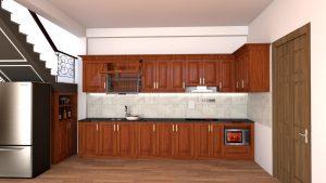tủ bếp chữ i gỗ xoan đào3