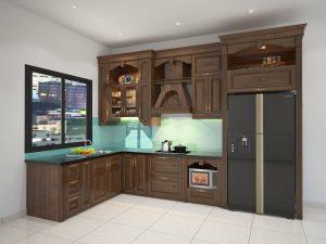 tủ bếp tân cổ điển - cao sát trần