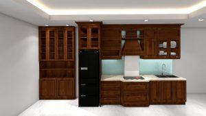 tủ bếp tân cổ điển GT01- cao sát trần