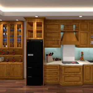 Tủ Bếp Tân Cổ Điển Gỗ Sồi Nga Tự Nhiên