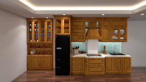 tủ bếp tân cổ điển gỗ sồi nga tự nhiên, cao sát trần