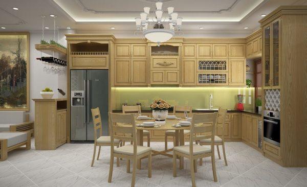 Tủ Bếp Gỗ 2 Tầng Bán Tân Cổ điển, Gỗ Sồi Nga