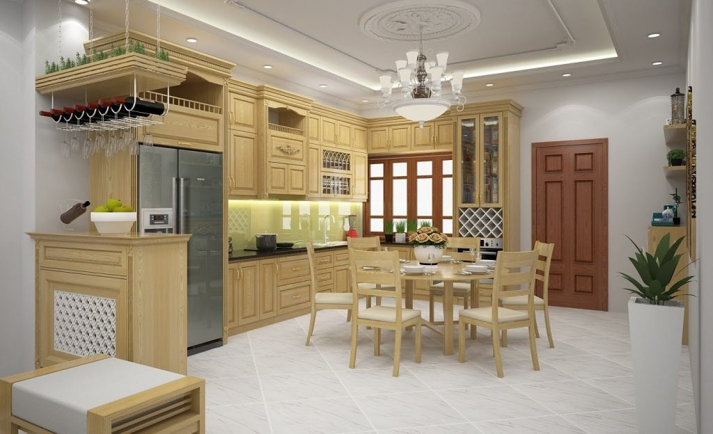Tủ Bếp Gỗ Bán Tân Cổ Điển